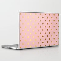 bisexual Laptop & iPad Skins featuring Golden polka dots on rose gold backround   by Better HOME