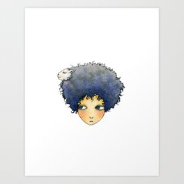 the girl with lamb hair Art Print