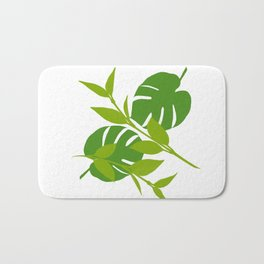 Simply Tropical Leaves with White background Bath Mat