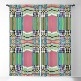 Coral Green Geometric Line Pattern Blackout Curtain