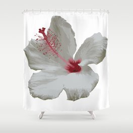 Pure White Hibiscus Tropical Flower Shower Curtain