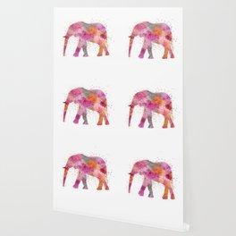 Artsy watercolor Elephant bright orange pink colors Wallpaper