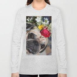 Flowers pug Long Sleeve T-shirt
