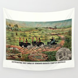 Distributing ship cargo of buggies Ohio to Australia Wall Tapestry