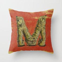 Monster M Throw Pillow