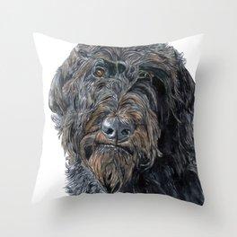 Pokey the Black Labradoodle Throw Pillow