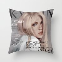 snk Throw Pillows featuring SnK Magazine: Hisotria by emametlo