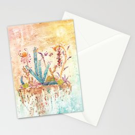 Blue Cactus and Landscape Watercolor Stationery Cards