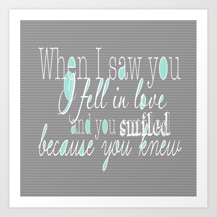 When I Saw You (Mint) Art Print