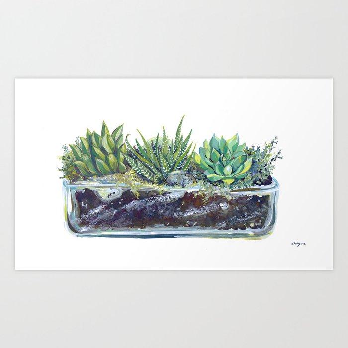 Terrarium, handpainted succulents Art Print