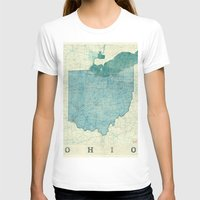 ohio state T-shirts featuring Ohio State Map Blue Vintage by City Art Posters