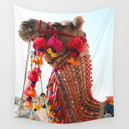 Boho Camel with Tassels and Pom Poms, in India Wall Tapestry