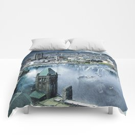 Earth Falls Away Comforters