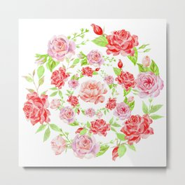 Bouquet of RED & PINK rose - wreath Metal Print