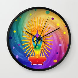 COLORFUL Om Meditation Mantra Chanting DESIGN Wall Clock