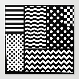 Mixed Patterns (Horizontal Stripes/Polka Dots/Wavy Stripes/Chevron/Checker) Canvas Print
