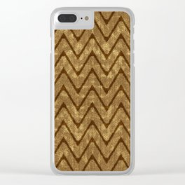 Faux Suede Chocolate Brown Chevron Pattern Clear iPhone Case