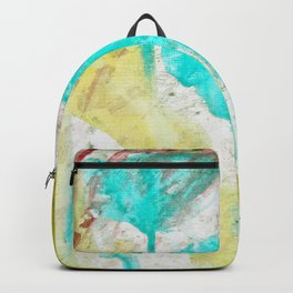 Artistic lime green teal hand painted watercolor Backpack