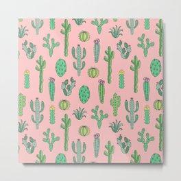 Cactus Pattern Pink Metal Print