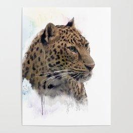 Digital Painting of Leopard Portrait Poster