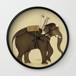 Mahout Riding an Elephant Painting (18th Century) Wall Clock