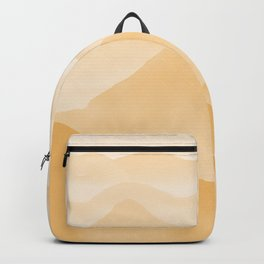 Gold Hand-painted Watercolor Mountains, Abstract Airy Mountain Landscape in Warm Golden Ochre Backpack