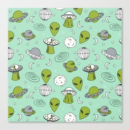 Alien outer space cute aliens french fries rad sodas pattern print mint Canvas Print