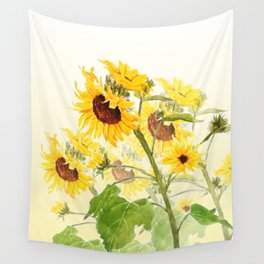 One sunflower watercolor arts Wall Tapestry