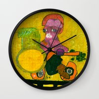motorcycle Wall Clocks featuring Motorcycle  by Vera A. Fehér