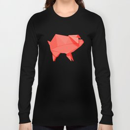 Origami Pig Long Sleeve T-shirt