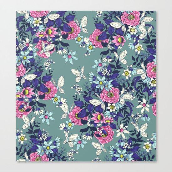 Thea's Garden - in teal tones Canvas Print