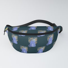 Cat and foliage - purple and dark blue Fanny Pack
