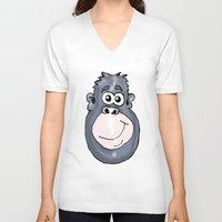 ape V-neck T-shirts featuring Ape by Eric Allen