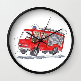 Red Fire Truck Fireman Caricature Wall Clock