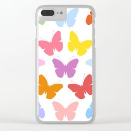 Multicoloured Butterflies Pattern Clear iPhone Case
