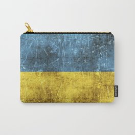 Vintage Aged and Scratched Ukrainian Flag Carry-All Pouch