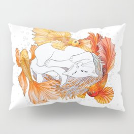 Cat and Golden Fishes Pillow Sham