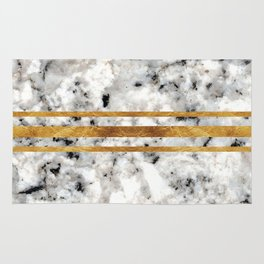 Classic Marble with Gold Racing Stripes Rug