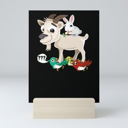 A Hare On A Buck Who Stands On Birds Mini Art Print
