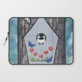 black capped chickadee, white breasted nuthatch, and bird house Laptop Sleeve
