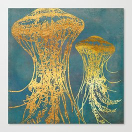 Deep Sea Life Jellyfish Canvas Print