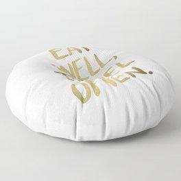 Eat Well Travel Often on Gold Floor Pillow