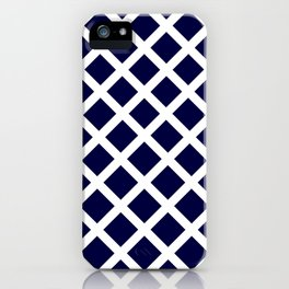 Dark Navy Blue and White Grill Pattern iPhone Case