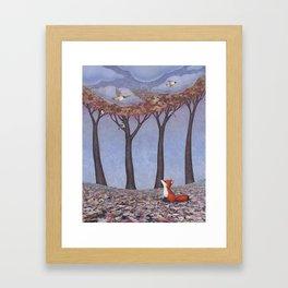 fox and chickadees Framed Art Print