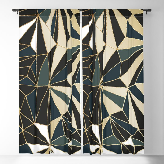 New Art Deco Geometric Pattern - Emerald green and Gold Blackout Curtain