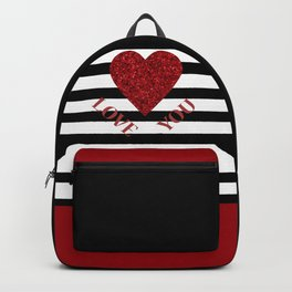 LOVE YOU Valentine print. Red glitter heart and black stripes congratulation card Backpack