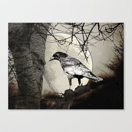 Rustic Black Bird Raven Crow Tree Moon A142 Canvas Print