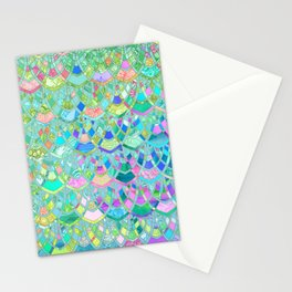 Art Deco Watercolor Patchwork Pattern 1 Stationery Cards