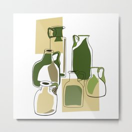 Green bottles Metal Print