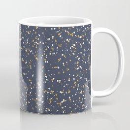 Speckles I: Dark Gold & Snow on Blue Vortex Coffee Mug